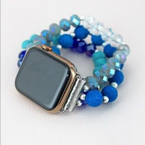 Blue Beaded Apple Watch Band